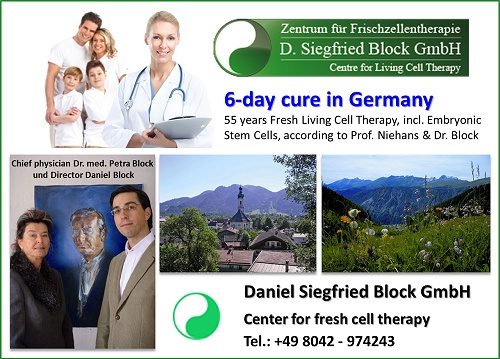 Dr. Siegfried Block GmbH, Centre for Living Cell Therapy, Fresh cell therapy, Swiss cell therapy, Anti Aging therapy